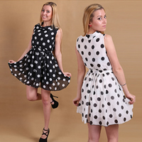 Chiffon & Polyester One-piece Dress, different size for choice, printed, dot, more colors for choice, Sold By PC
