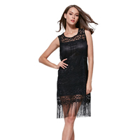Lace & Polyester Miracle Tassel One-piece Dress, different size for choice, embroider, Solid, black, Sold By PC