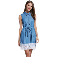 Lace   Polyester A-line One-piece Dress hollow patchwork blue