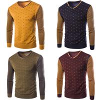Cashmere   Polyester   Cotton Men Sweater regular patchwork
