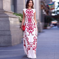 Cotton One-piece Dress backless floor-length printed geometric red and white Sold By PC