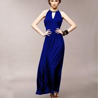 Cotton Long Evening Dress backless   off shoulder   ankle-length Solid Size:Free Size