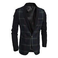 Polyester & Cotton Men Leisure Suit, different size for choice, plaid, deep blue, Sold By PC