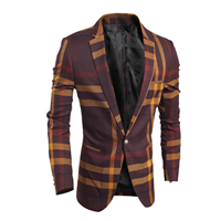 Polyester   Cotton Men Leisure Suit plaid Sold By PC