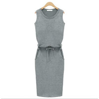 Cotton One-piece Dress Solid Sold By PC