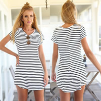 Cotton One-piece Dress striped white Sold By PC