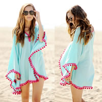 Chiffon Swimming Cover Ups patchwork light blue