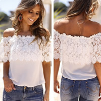 Chiffon   Lace Plus Size Short Sleeve Nightclub Top patchwork white Sold By PC