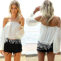 Chiffon Miracle Tassel Long Sleeve Nightclub Top backless off shoulder Solid white
