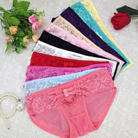 Lace & Cotton Hip-hugger Sexy Thong, hollow & breathable, jacquard, floral, more colors for choice, Size:Free Size, 10PCs/Lot, Sold By Lot