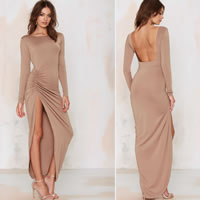 Cotton Long Evening Dress backless ankle-length Solid