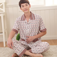 Bamboo Fiber Men Summer Pajama Set, different size for choice, printed, plaid, coffee, Sold By Set