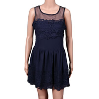 Gauze & Polyester One-piece Dress, different size for choice & transparent, with Lace, patchwork, more colors for choice, Sold By PC