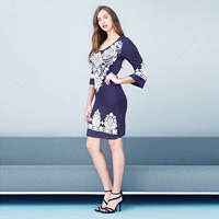 Viscose & Polyester Autumn and Winter Dress, different size for choice, printed, geometric, more colors for choice, Sold By PC