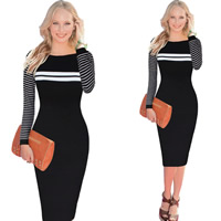 Polyester & Cotton Autumn and Winter Dress, different size for choice, printed, striped, black, Sold By PC