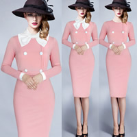 Polyester & Cotton Autumn and Winter Dress, different size for choice, Solid, pink, Sold By PC