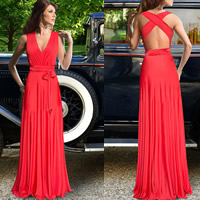 Spandex   Polyester Long Evening Dress backless floor-length Solid red Size:Free Size