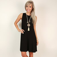 Cotton One-piece Dress Solid black