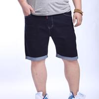 Denim Plus Size   Middle Waist Men Capri Pants washed Solid deep blue