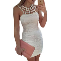 Spandex   Polyester Sexy Package Hip Dresses with Lace Solid white Sold By PC