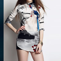 Polyester Women Cheongsam, different size for choice, printed, Beijing Opera Mask, white, Sold By PC