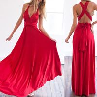 Spandex & Cotton Long Evening Dress, different size for choice & floor-length & multi-way, Solid, more colors for choice, Sold By PC