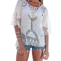 Lace   Cotton Swimming Cover Ups hollow geometric white Size:Free Size