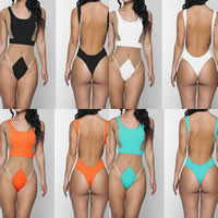 Polyester Monokini, different size for choice & skinny style, patchwork, more colors for choice, Sold By PC