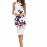 Cotton Sexy Package Hip Dresses off shoulder floral white