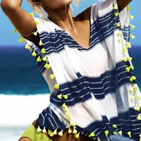 Cotton Swimming Cover Ups printed striped white Size:Free Size
