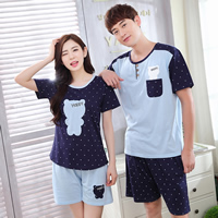 Cotton Couple Summer Pajama Set different styles for choice printed Cartoon blue