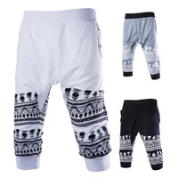 Cotton Middle Waist Men Capri Pants breathable printed skull pattern