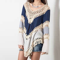 Line   Cotton Swimming Cover Ups hollow   breathable patchwork Sold By PC