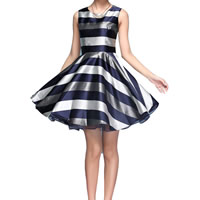 Polyester One-piece Dress printed striped deep blue Sold By PC