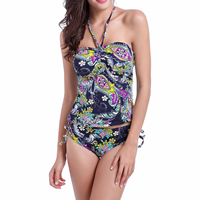 Spandex & Polyester Tankinis Set, backless & different size for choice & two piece & breathable & padded, printed, different color and pattern for choice, Sold By Set