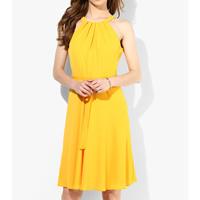 Chiffon One-piece Dress Solid yellow