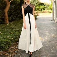 Polyester Long Evening Dress floor-length & transparent with Gauze patchwork black Sold By PC