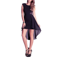 Chiffon One-piece Dress short front long back with Gauze patchwork black Sold By PC