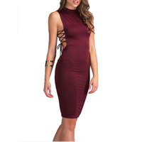 Polyester Lace Up Sexy Package Hip Dresses, different size for choice, Solid, wine red, Sold By PC