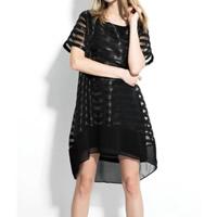 Organza One-piece Dress short front long back patchwork black