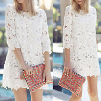 Lace   Polyester One-piece Dress hollow floral white