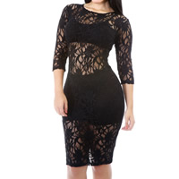 Lace & Polyester Sexy Package Hip Dresses, different size for choice & transparent, floral, more colors for choice, Sold By PC