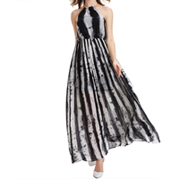 Chiffon One-piece Dress, different size for choice & off shoulder & ankle-length, printed, geometric, black, Sold By PC
