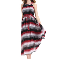 Chiffon One-piece Dress, different size for choice & with belt & ankle-length, printed, geometric, black, Sold By PC