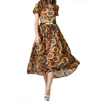 Chiffon One-piece Dress printed floral yellow Sold By PC