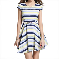 Hemp One-piece Dress, different size for choice & with belt, striped, blue, Sold By PC
