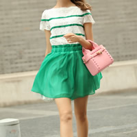 Chiffon & Lace One-piece Dress, different size for choice, patchwork, green, Sold By PC