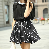 Hemp & Chiffon One-piece Dress, different size for choice, plaid, black, Sold By PC