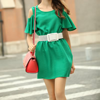 Hemp One-piece Dress, different size for choice & with belt & off shoulder, Solid, green, Sold By PC