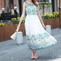 Chiffon One-piece Dress, different size for choice, printed, animal prints, white, Sold By PC
